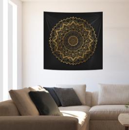 Painel em Tecido Mandala Golden Circle